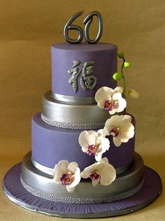 Love, love, love this cake! The purple orchids are, so beautiful Grandma Birthday Cakes, 50th Birthday Cake Toppers, Elegant Birthday Cakes, 60th Birthday Cakes, Birthday Cakes For Women, Elegant Cakes, Pretty Cakes, Cute Cakes, Beautiful Cakes