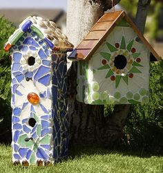 For the Birds!    But people will love these birdhouses too! These easy-to-make garden accessories also make great gifts. Sea glass is perfect for mosaics as it comes in many shapes, sizes, and colors, so no cutting is required and, because the glass is tumbled, there are no sharp ends. Glass gems add sparkle and style to these birdhouse projects.