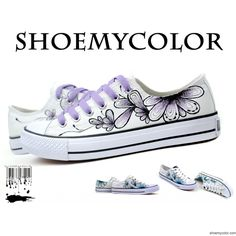 Hand Painted Shoes / Colors of Ink Themed Low-top Hand Painted Canvas Sneakers,purple version