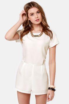 Cute White Romper - Short Sleeve Romper - $44.00
