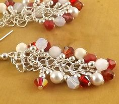 Candy Cane Red and White sterling silver Swarovski by OklahomaMama, $17.00