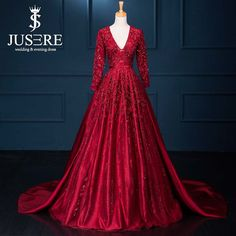 Red Real Photo V neckline Open Back Long Sleeves Satin Court Train Embroidery Lace Bead Gown from Reliable dress flats suppliers on Jueshe Wedding & Evening Dress Factory  | Alibaba Group