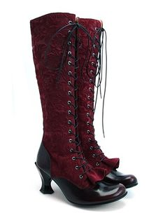 Beautiful red lace up gothic boots!!! <3 <3 <3