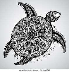 Hand drawn vector monochrome doodle turtle decorated with oriental ornament. Zentangle tribal stylized animal. - stock vector