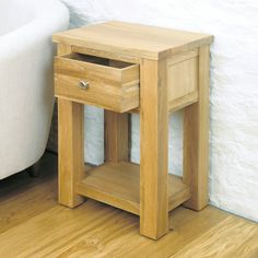 Aston Solid Oak One Drawer Lamp Table -  - Bedside Table - Baumhaus - Space & Shape - 4