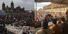 Zócalo capitalino, a reventar por mega-marcha y mitin del segundo aniversario del caso Ayotzinapa