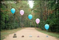 Love this idea to announce gender of the baby. Seen this done with shoes before but loving the add of the balloons!