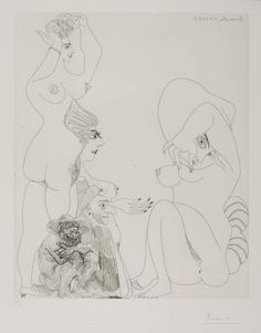 Pablo Picasso 1881–1973 Etching 24 March 1968 II (L.6)/ Eau-forte 24 Mars 1968 II From 347 Series 1968 Etching on paper Image: 422 x 345 mm Tate Purchased 1992