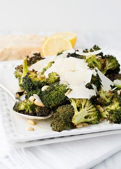 Roasted Broccoli with Shaved Parmesan