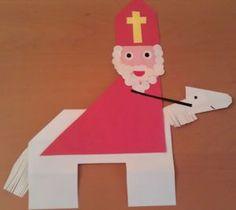 Sinterklaas te paard vouwwerk. Kijk voor de werkbeschrijving op jufsanne.com