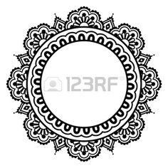 Indian Henna floral tattoo round pattern - Mehndi
