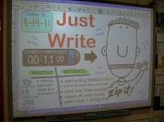 Just write Journal time Anchor chart on Smartboard.  Can embed music to stimulate writing.  Build stamina. by Becknboys