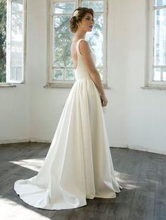 Custom Made Chapel Train Exquisite Wedding Dress Ivory White Bodysuit Skirt Only Size 4 6 8 10 12 14