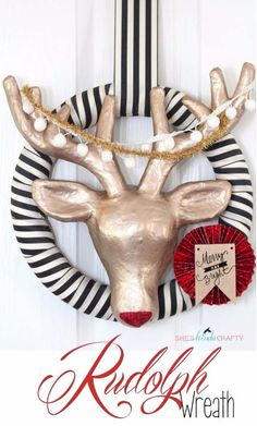 DIY Holiday Wreaths Make Awesome Homemade Christmas Decorations for Your Front Door |  Cool Crafts and DIY Projects by DIY JOY   |  Modern Rudolph Wreath |  diyjoy.com/...