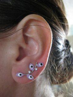 Ear Sweep Wrap Earring Evil Eye with Swarovsky Light Pink | eBay