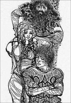 "Charles Keeping, book illustration from ""Last of the Vikings"". Floral Illustrations, Children's Book Illustration, Viking Books, Yarn Painting, Artist Pens, Aesthetic Art, Light In The Dark, Vikings, Illustrators"