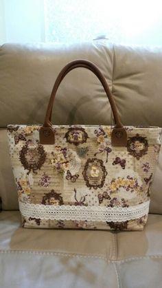 Cotton linen zippered tote bag