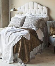Bella Notte's New Florence Couture Primrose Bed ~ Silk Velvet & linen bedding. love the grey & brown together.