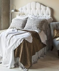 Bella Notte's New Florence Couture Primrose Bed ~ Silk Velvet & linen bedding. love the grey & brown together.