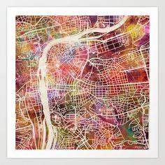 Prague Art Print by mapmapmapswatercolors Prague City, City Maps, Art Prints, Abstract, Artwork, Watercolors, Collage, Europe, Spaces