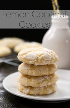 Soft and chewy lemon coconut cookies are the perfect way to brighten blah winter days! I don't really like lemon, but these sound yummy! Biscotti, Coconut Cookies, Lemon Cookies, Baking Cookies, Yummy Cookies, Chip Cookies, Just Desserts, Delicious Desserts, Yummy Food
