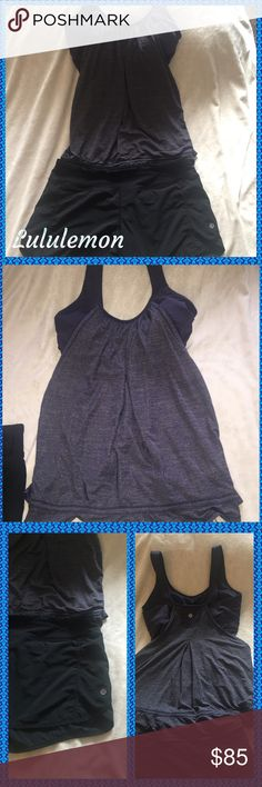 Lululemon complete outfit Black size 10 Lululemon shorts and beautiful blue size 10 flowing top with built in bra. Top cinches at waist and bra has removable pads. Perfect outfit! lululemon athletica Pants Track Pants & Joggers
