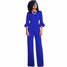Zarupeng Damen Bodycon Lange Clubwear Party Jumpsuit Spielanzug Playsuit  Siamese Hosen (M Blau). Bitte überprüfen Sie Ihre Messungen um  sicherzustellen dass ... 1099f5caae