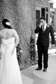 Groom seeing his bride for the first time...