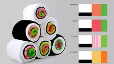 Kitchen towels made to look like sushi!! Would make a cute house warming gift!!