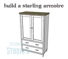 DIY Shelf - DIY Plans to Build a Starling Armoire I love armoires. They are big, beautiful, and have lots of storage possibilities! The DIY plans to build a Starling armoire feature two drawers and two doors. Wood Pallet Furniture, Diy Furniture Plans, Small Furniture, Woodworking Furniture, Woodworking Plans, Furniture Makers, Woodworking Equipment, Door Furniture, Pipe Furniture