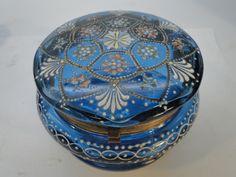 ANTIQUE MOSER BOHEMIAN GLASS DRESSER BOX CASKET HAND PAINTED ENAMEL BEADING   eBay