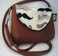 Mustache Fabric Purse in Alexander Henry Where's My Stache, Brown Faux Leather Cross Body Purse.