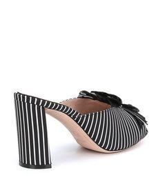 AD & Daughters Warmack Stripe Ruffle Detail Block Heel Dress Mules GzzTf