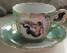 Merman Teacup and Saucer Set, Pink or Green and Gold, Mermaid Teacup, Mermaid Tea Set, Mermaid Mug Mermaid Cup, Teapots And Cups, Vintage Plates, Merman, Coffee Set, Cup And Saucer Set, Shabby, Green And Gold, Tile Murals