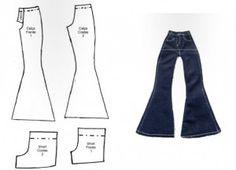 Barbie bell bottomed jeans and shorts MOLDES DE ROUPAS DE BONECA