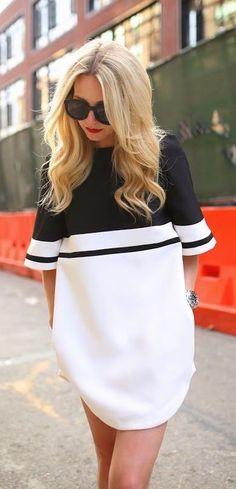 82c7df2b4ef  street  style   black and white shirt dress White Dress