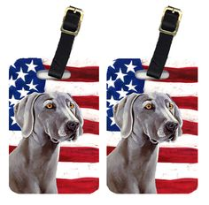 Pair of USA American Flag with Weimaraner Luggage Tags LH9001BT