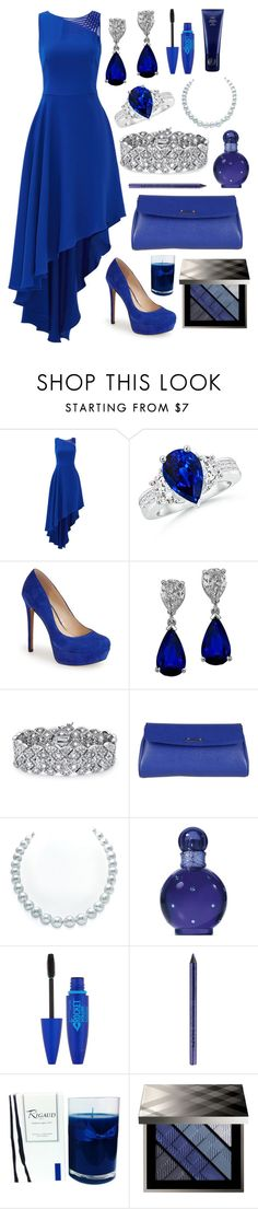 """evening in blue"" by laurensage723 ❤ liked on Polyvore featuring Halston Heritage, Jessica Simpson, Palm Beach Jewelry, Fendi, Britney Spears, Maybelline, NYX, Oribe, Rigaud and Burberry"