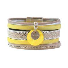Bracelet femme manchette cuir lanières jaune imprimé safari python