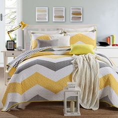 Qucover Zigzag Cotton Quilt Set Yellow and Grey 3-Piece Bedding Quilted Bedspread Coverlet Set Modern Embossed Quilt Set by Qucover, http://www.amazon.ca/dp/B0776TT4Z8/ref=cm_sw_r_pi_dp_U_x_bptoAbHKBGQZT