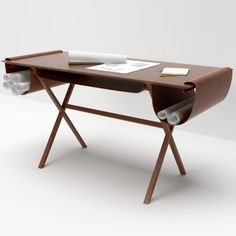 A wood and leather desk from I Maestri.