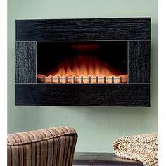Black Electric Wall-Mount Fireplace and 15 Watt Heater $249.95