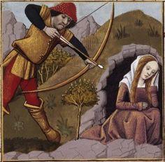 XXVIII-Mort de Procris, tuée par son époux Céphale, qui l'avait confondue avec du gibier (PROCRIS, wife of Cephalus) -- Giovanni Boccaccio (1313-1375), Le Livre des cleres et nobles femmes, v. 1488-1496, Cognac (France), traducteur anonyme. -- Illustrations painted by Robinet Testard -- BnF Français 599 fol. 24