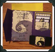 Nightmare Before Christmas Inspired Jack U0026 Sally Silhouette Pocketfold Wedding  Invitation Suite