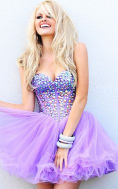 Rhinestone Corset-style Strapless Lilac Layered Cocktail...