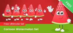 Watermelon Vector, Sweet Watermelon, Fruit Vector, Cute Characters, Cartoon Characters, Vector Characters, Free Vector Clipart, Vector Shapes, Action Poses