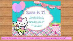 Hello Kitty Birthday Invitation. Custom Design, Fairy tale Birthday Party, personalized, Printable Invitation, Product# Hello Kitty 0002 by kellylynn1973 on Etsy