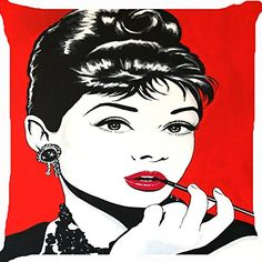 Cushion cover throw pillow case 18 inch pop art Audrey Hepburn pipe both sides image zipper Throw Pillow Cases, Throw Pillows, Pop Art Girl, Hollywood Star, Girls Makeup, Special Gifts, Print Patterns, Cushions, Audrey Hepburn