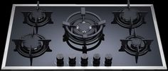 Ohm 90, built-in 5 burner glass gas hob, Nagold by Hafele