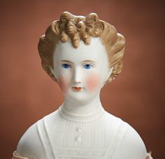 Brunette Color, China Dolls, Doll Head, The Crown, French Fashion, Antique Dolls, Cobalt Blue, Blue Eyes, Sculpting